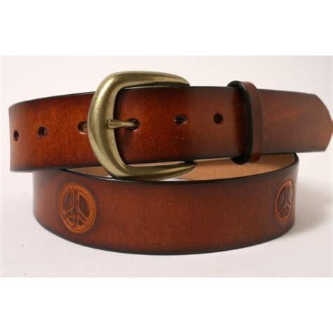 Handmade Belts Usa - tooled peace belt cellar leather