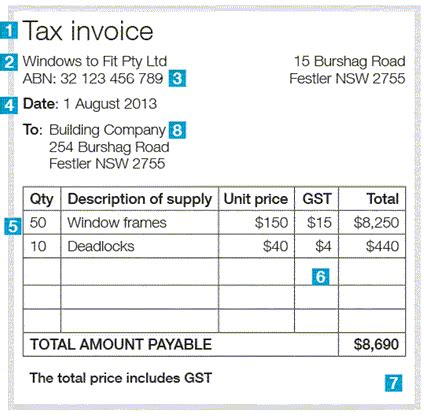 sle tax invoice template australia issuing tax invoices australian taxation office