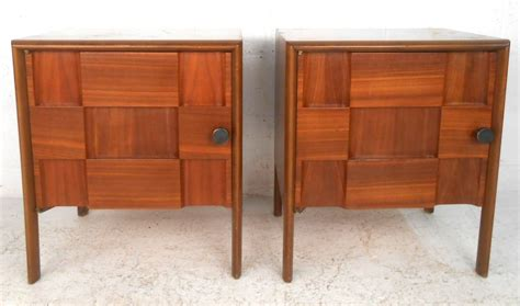 unique nightstands pair of unique mid century modern cabinet front nightstands at 1stdibs