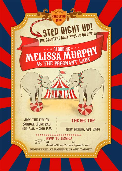circus theme invitation templates circus baby shower invitations decor part 1 of 2