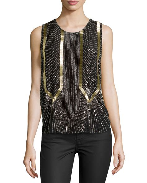 beaded tops lyst miller armor sleeveless beaded top in black