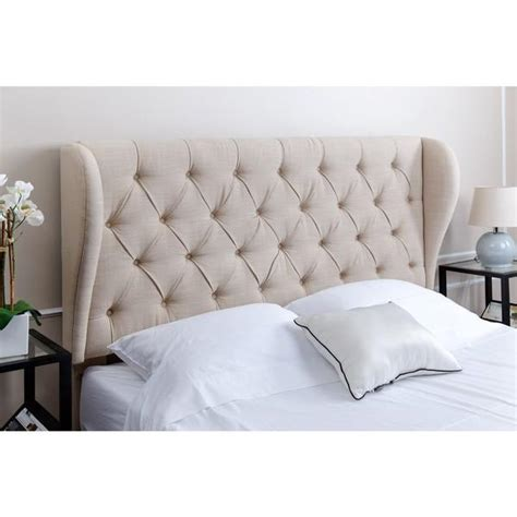 abbyson living chambers tufted wheat linen wingback headboard
