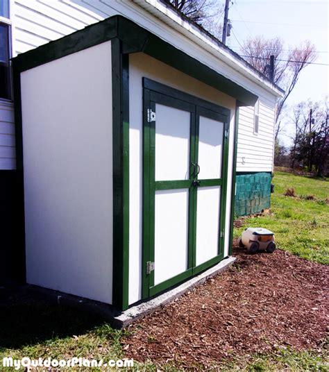 diy  lean  shed  double doors myoutdoorplans