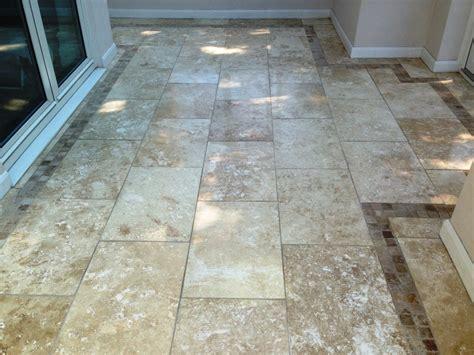 damaged travertine tiled floor repaired in oldham