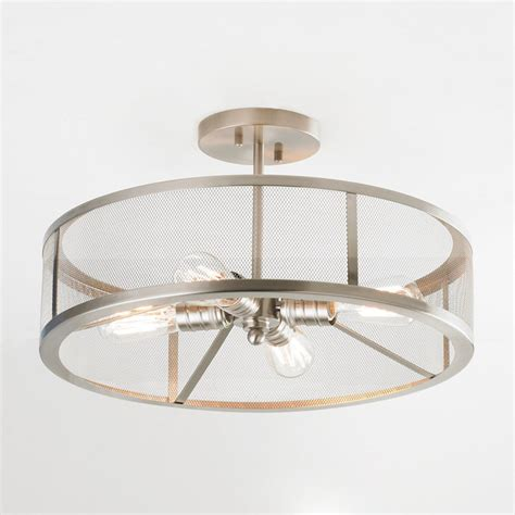 mesh industrial semi flush mount ceiling light shades of