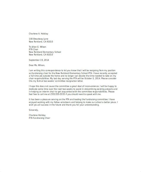 Resignation Letter Volunteer by 10 Volunteer Resignation Letters Free Sle Exle Format Free Premium Templates