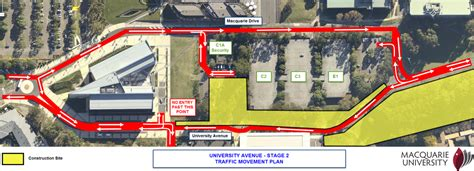 construction traffic management on construction sites lane closure on university avenue this week at macquarie