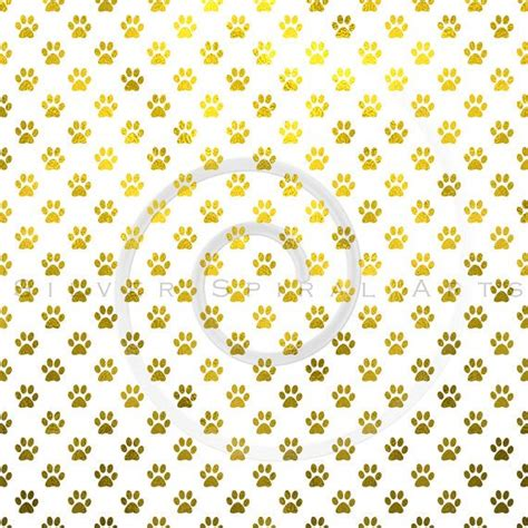 leaf pattern overlay gold paw prints background paper printable faux foil paw