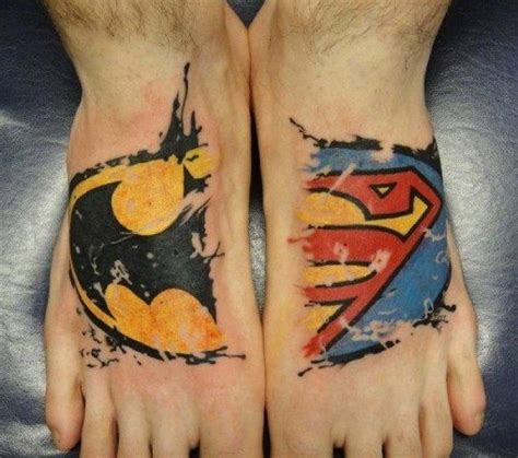 batman superman tattoo batman or superman foot foot tattoos