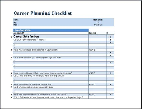 formal career planning checklist template word excel