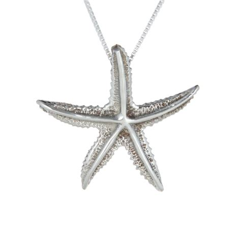 sterling silver spiny starfish necklace landing company