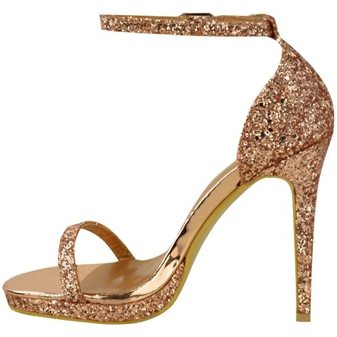 Sandal Heels Ip21 3 womens platform high heels ankle strappy glitter sandals shoes size ebay
