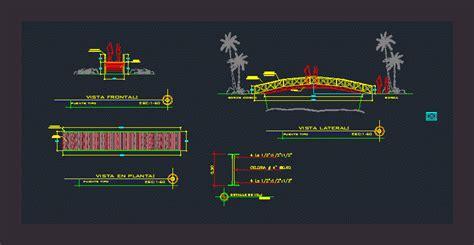 wooden bridge  dwg plan  autocad designs cad