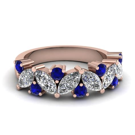Wedding Bands With Sapphires And Diamonds by Marquise Wedding Ring With Emerald In 14k White