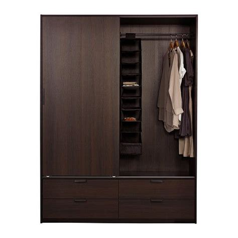 ikea trysil wardrobe trysil wardrobe w sliding doors 4 drawers brown black
