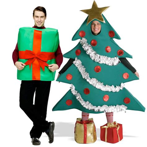 adult christmas tree and gift box couples costume