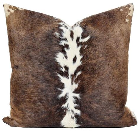 Cowhide Pillow - cowhide pillow cow hide leather brown white pelt