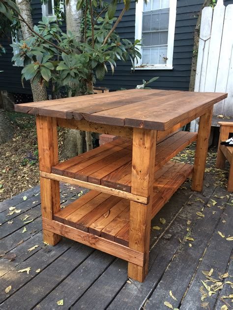wooden island bench hand built rustic kitchen island house food baby