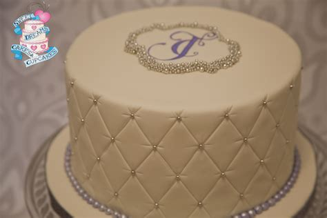 Quilted Fondant Cake by Sweet And Simple One Tier Wedding Cake Quilted Fondant With Painted Monogram Encrusted In