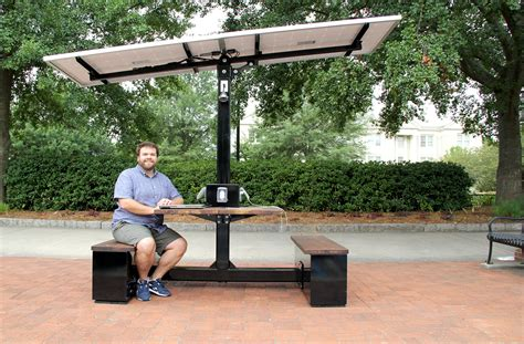 solar powered table l uga charges ahead with solar powered picnic table uga today