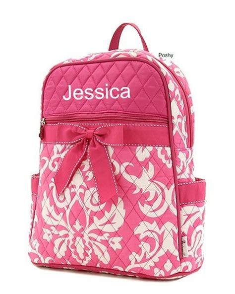 personalized kids backpacks in pink and green polka dot