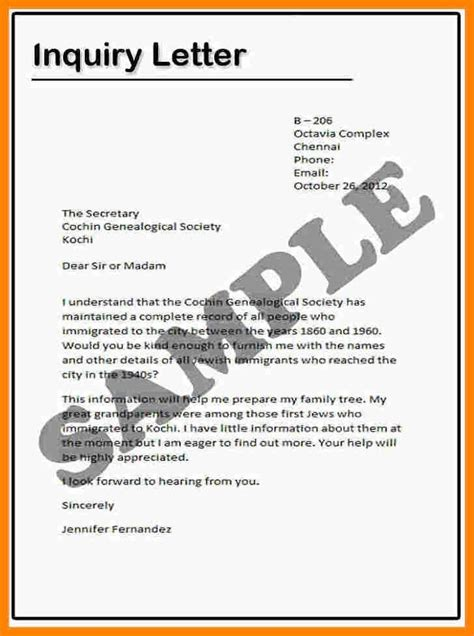 Business Inquiry Letter Definition exle inquiry letter exle of inquiry letter in