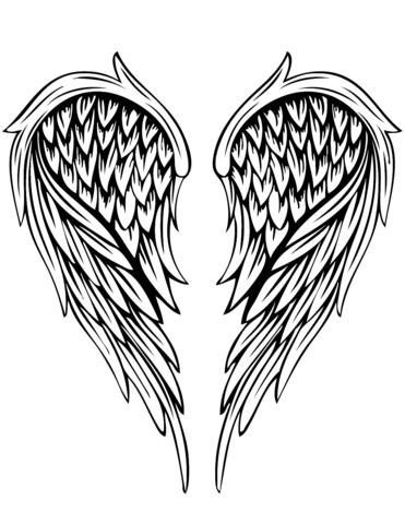 angel wings tattoo coloring page free printable coloring