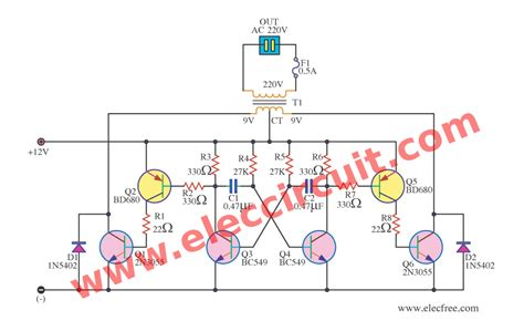 car inverter circuit diagram simple inverter schematic diagram use mj2955 eleccircuit