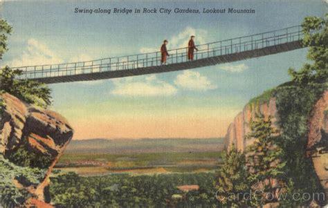 rock city swinging bridge swing along bridge lookout mountain rock city gardens tn