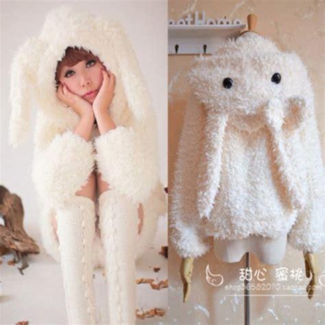 Sweety Rabbit Sweater White Sweater Wanita Sweater Rabbit sweater bunny bunny bun jacket coat hoodie onesie
