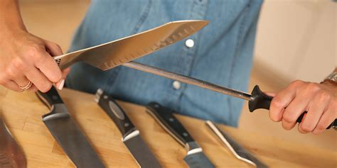how to use sharpening steel how to use a knife sharpening steel popsugar food