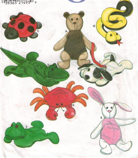 stuffed animal bean bag pattern simplicity pattern 8091 bean bag stuffed animal toys