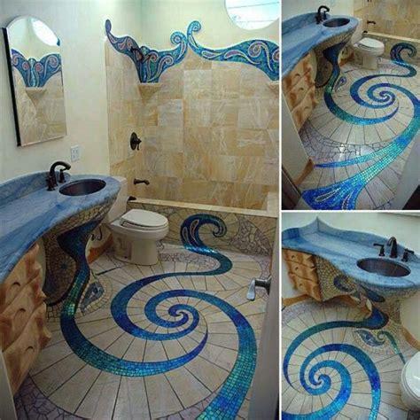 blue mosaic tile swirls bath makeover pinterest art pixilated bathroom design made with tiles freshome
