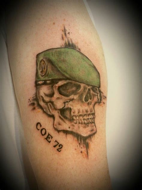 green beret tattoo skull with green beret from my sketch to his skin