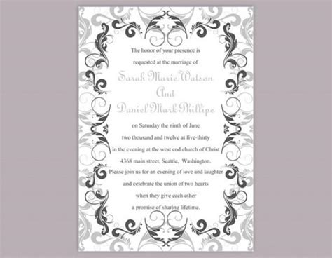 silver wedding invitation templates diy wedding invitation template editable word file instant