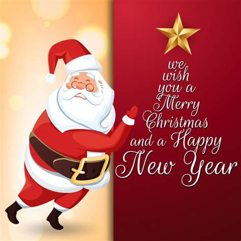 merry christmas  happy  year message  greeting card  santa claus character vector