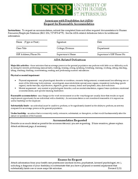 Request Letter Format For Accommodation Americans With Disabilities Act Ada Request For Reasonable Accommodation Hashdoc