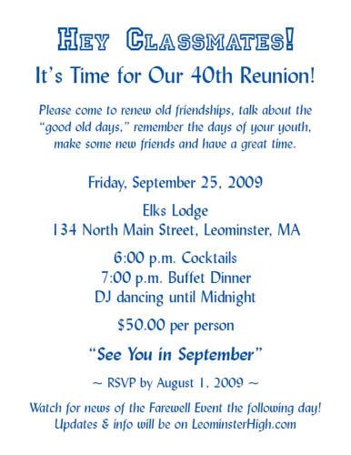 Invitation Letter Format For Reunion lhs class of 69 reunion pictures from friends
