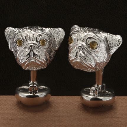 pug cufflinks sterling silver sterling silver pug cufflinks with gemstones lovadog department store for dogs