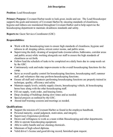 housekeeping description sle supervisor description 8 exles in pdf resume