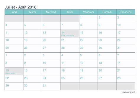 Calendrier Juillet Aout Calendrier Juillet Et Ao 251 T 2016 224 Imprimer Icalendrier