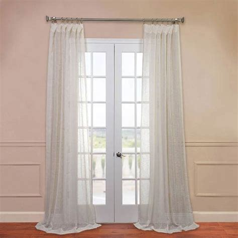 96 inch sheer curtains open weave cream 50 x 96 inch linen sheer curtain half