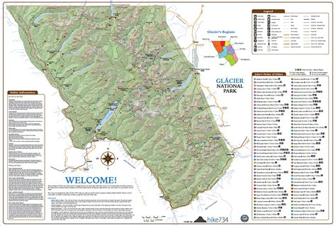 map of glacier national park wall map glacier national park day hikes hike 734