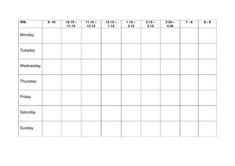 time table week template calendar template 2016