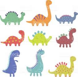 set of cute dinosaur illustrations stock vector art