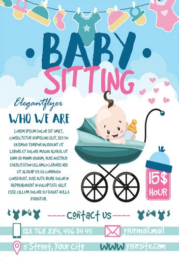 Free Babysitting Psd Template By Elegantflyer Babysitting Ad Template