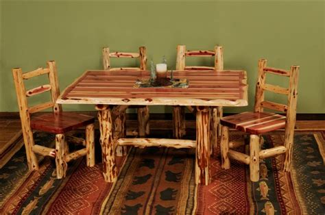 Log Dining Room Sets | log dining room table cedar log dining table pcdt01 cedar log dining room furniture new