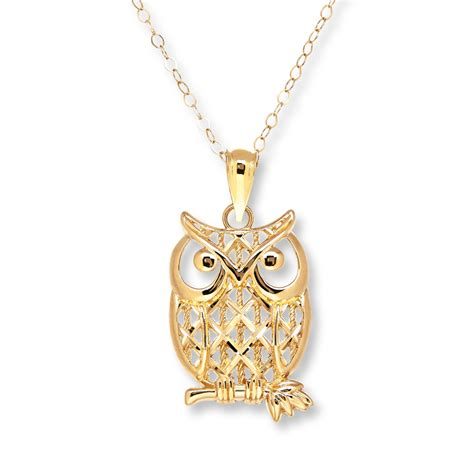 owl necklace 10k yellow gold