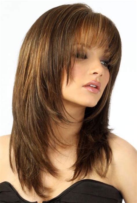long layered cut with slant bang you want to have bangs but with a layered haircut no
