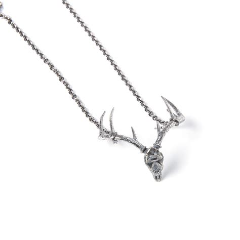Skeleton Silver Plat White Harga Miring trophy deer skull necklace silver plated white bronze 32 quot chain moon designs